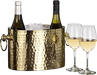 Chic Chill Handcrafted Artisan 2 bottle Champagne Wine Chiller (Brass)