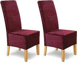 SCHEFFLER-Home Puma Velvet Fundas de sillas, Estirable Cubiertas, Terciopelo extraíble Funda con Banda elástica, Bordeaux, Juego de 2