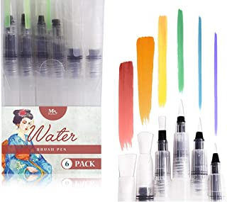 Water Brush Pens - Set of 6 Brush Tips - Great for Watercolor Paints, Water Soluble Pencils, Brush Pen, Markers - Refillable Brush Pens - Aqua Pen, Art Brushes - MozArt Supplies