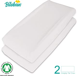 Organic Changing Pad Cover/Change Table Cover Sheets, Waterproof, 100% Organic Cotton, 2 Pack, Cream White