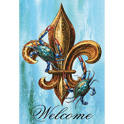 Magnolia Garden Welcome Blue Crabs and Fleur de Lis on Blue 44 x 30 Rectangular Screenprint Large House Flag