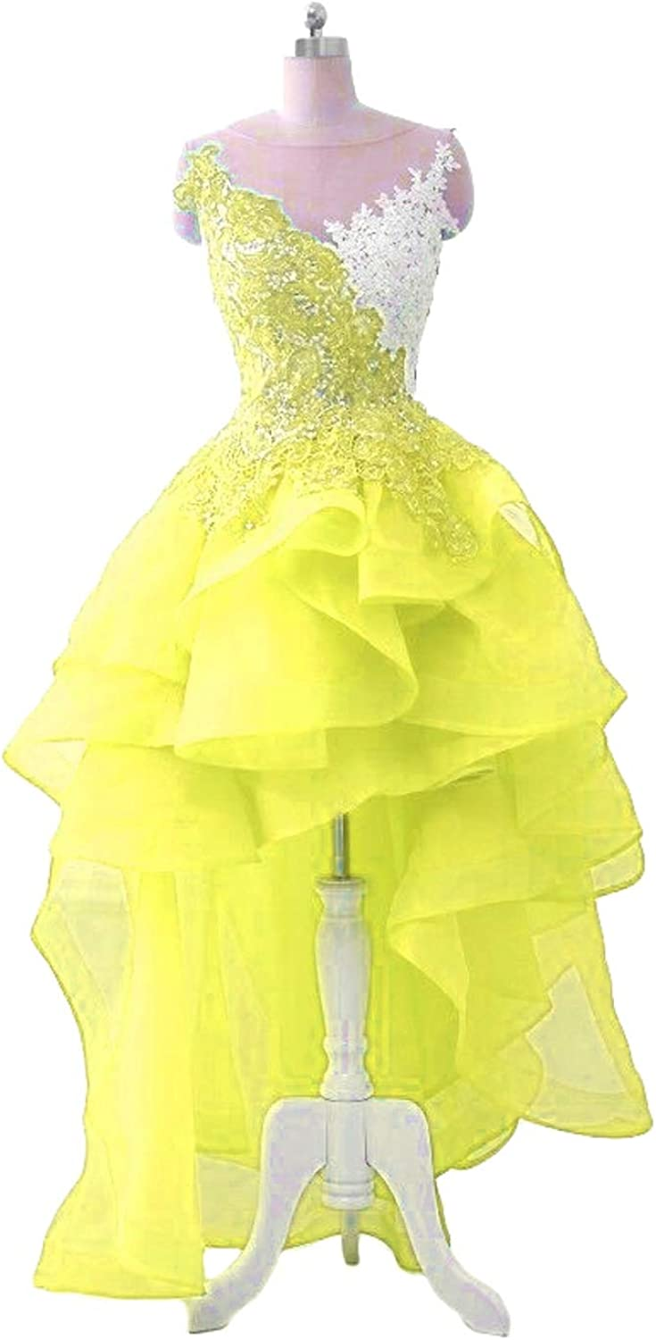DKBridal Women's Lace Appliques Beaded Evening Prom Party Dresses Organza High Low Homecoming Dresses