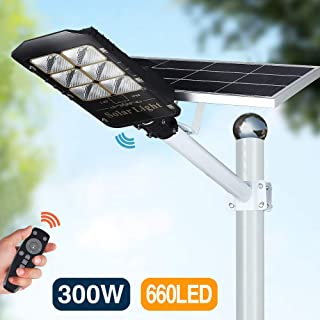 300W LED Solar Street Lights Outdoor Lamp, Dusk to Dawn Pole Light with Remote Control, Waterproof, Ideal for Parking Lot, Yard, Garage and Garden (Cool White)