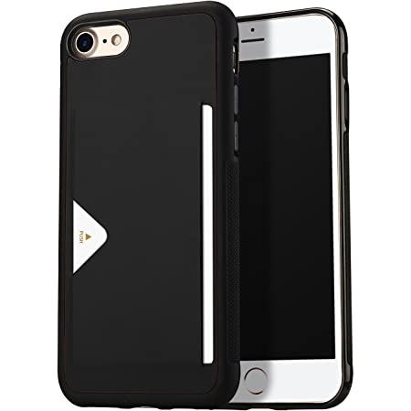 【背面カード収納付】 iPhone SE ケース [第2世代] iPhone8 ケース iPhone7 カード収納 上質な手触り アイフォン SE 第2世代 アイフォン8 アイフォン7 カバー 耐衝撃 軽量 薄い IC OWLGuardian スマホケース (ブラック)