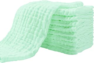 Muslin Burp Cloths for Baby 10 Pack 100% Cotton Large 13''X17'' Super Soft and Absorbent by YOOFOSS (Green)