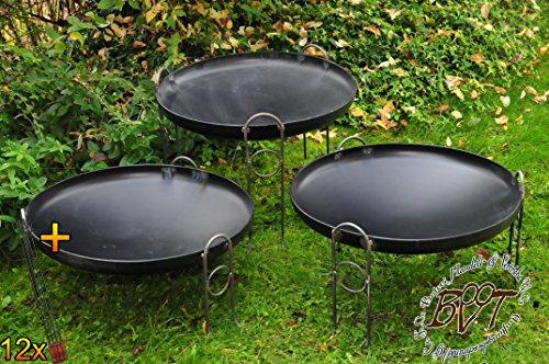 61jF +Uw  L - BTV Outdoor Feuerschale + Zubehör - Premium-Feuerschale mit Design-Füßen, XL ca. 60 cm MIT Grillzubehör: 12x Grillspiesse Grillbesteck Grillspass Holzkohle