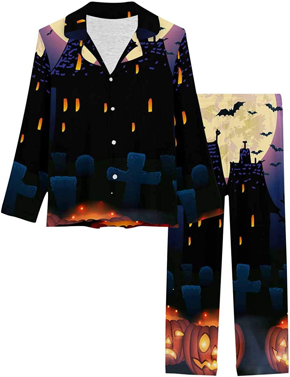 InterestPrint Women's Pajamas Set Long Sleeve with Long Pants XS-XXL Halloween Wicked House with Pumpkins Background