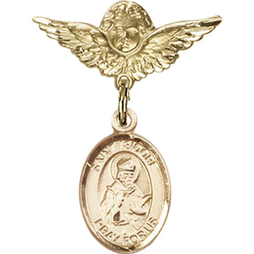 14kt Yellow Gold Great interest Baby Badge with Isidore Seville St. Special sale item Charm of an