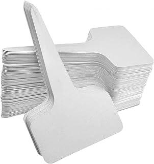 100 Pcs 6 x10cm Plastic Plant T-Type Tags Nursery Garden Labels, White