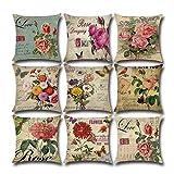 PUDDINGHH® 9 Pack clásico Las Flores Rosa Algodón Lino Throw Pillow Case Funda de Almohada para Cojín 45x45 cm