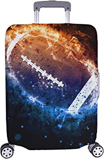 American Football Sport Poster Or Flyer Background Pattern Spandex Trolley Case Travel Luggage Protector Suitcase Cover 28.5 X 20.5 Inch
