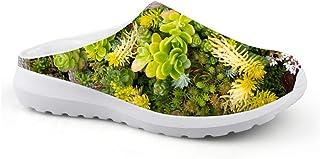 AXGM Men's Slippers Mesh Clogs Mules Beach Shoes Spring Plant Green Succulent Digital Trend Slipper Unisex Flat Shoes Open...