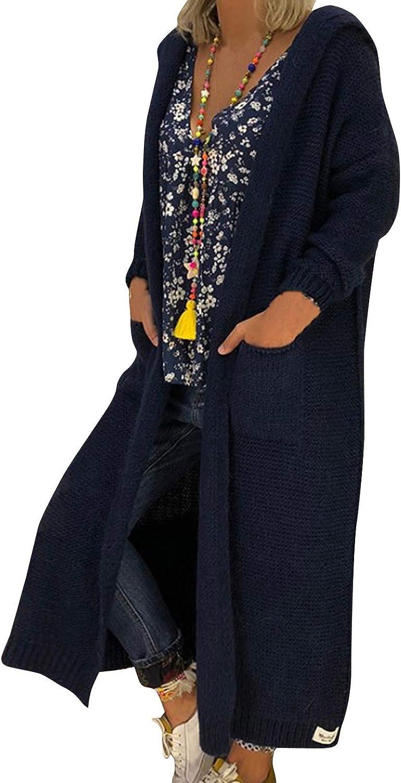 ManxiVoo Womens Long Cardigan Sweaters Hooded Open Front Knitted Oversized Sweater Coats Outwear