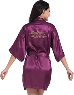 DF-deals Women's Satin Kimono Robe for Bridesmaid and Bride Wedding Party Getting Ready Short Robe with Gold Glitter