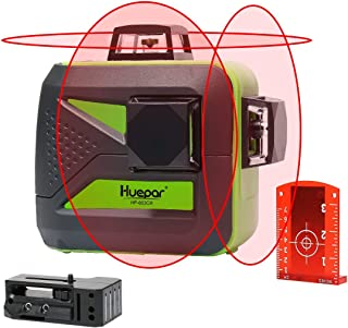 Huepar 3D Self-Leveling Laser Level 3x360 Red Cross Line Three-Plane Leveling and Alignment Line Laser Level Tool -Two 360° Vertical and One 360° Horizontal Line -Magnetic Pivoting Base 603CR