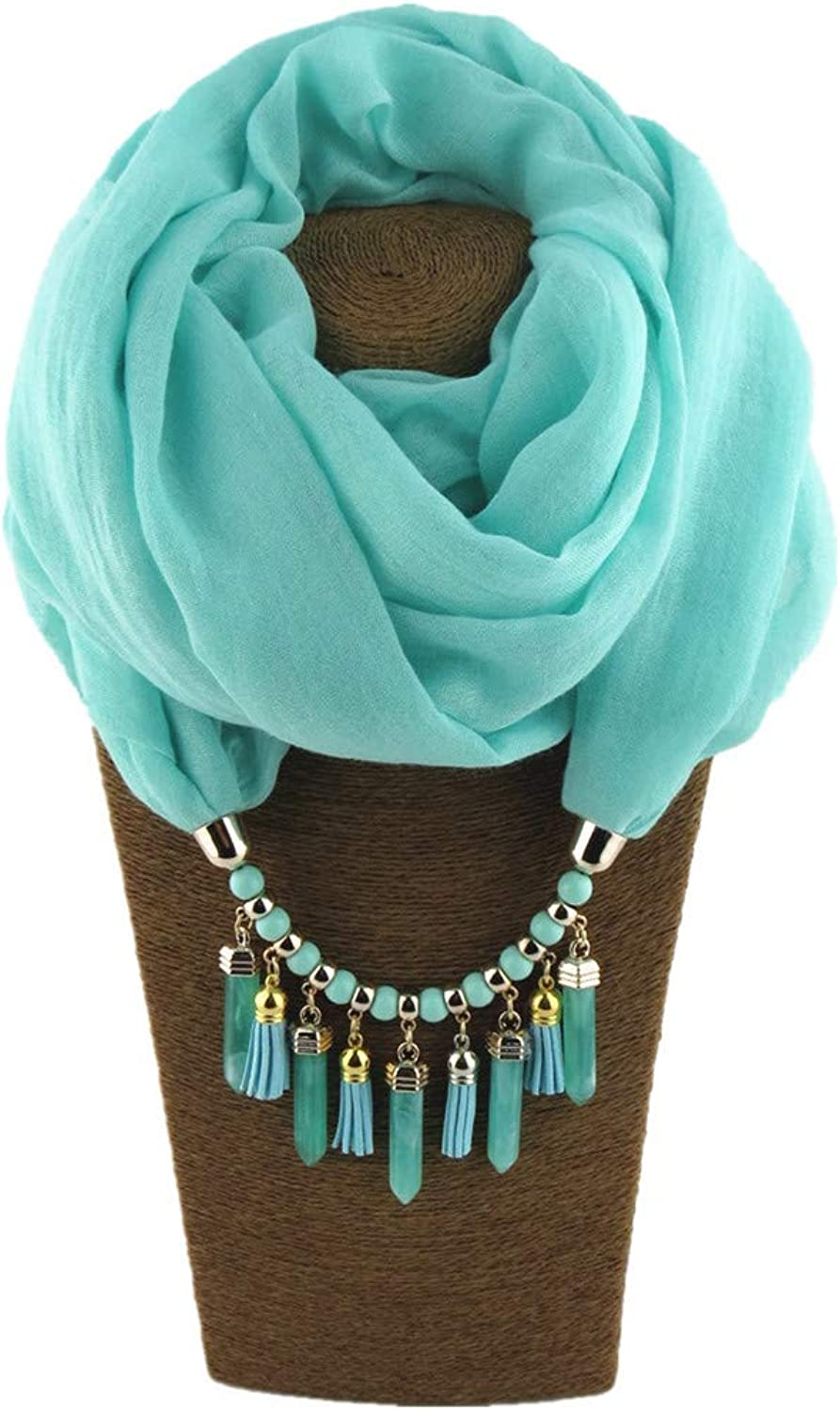 Fashion Cotton and Linen Bib Pendant Scarf Cotton Jewelry Solid color Scarf (color   Sky blueee)