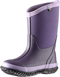 Kids Rubber Rain Boots, Waterproof Solid Classic Pull On Snow Wellies Boot for Children Toddler Boys Girls