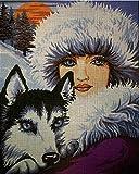 Set de bordado de tapicería'Woman and Husky' Juego de bordado de punto de cruz de 23X30cm.Incluye hilo de algodón multicapa cod.628
