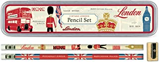 Cavallini Papers Pencil Set with 10 Pencils and 1 Sharpener, Vintage London