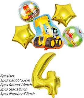 Party Tableware Construction Vehicle Party Decorations Cars Tableware Set Cupcake Toppers Banners Balloons for Kids Birthd...
