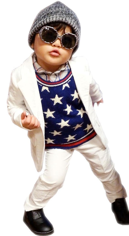 子供 スーツ 男の子 キッズスーツ 3点セット (マットホワイトスーツ) 子供服 フォーマル 子供スーツ