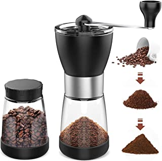 AVNICUD Manual Coffee Grinder,Adjustable Setting Conical Burr Mill,Portable Hand Coffee Grinder With Two Clear Glass Jars 5.5 oz Each,Hand Crank for Precision Brewing