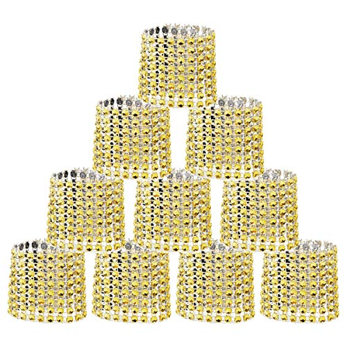 SwirlColor Bling Rhinestone Napkin Rings - 20 Pcs (Golden)