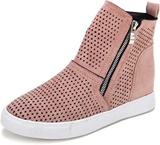 Youngdemo Women's Platform Wedge Shoes Casual Hollow Zipper Sneakers