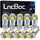 LncBoc Ampoule w5w LED T10 LED de Voiture Lampe Haut illuminum W5W 5050 LED Ampoule 194 168 Feux de positionnement latéraux Plaque d'immatriculation DC 12V 6500K