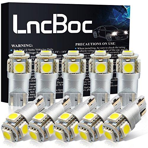 LncBoc Lampade W5W LED T10 194 168 5SMD 5050 12V 6000K Bianco Super Luminoso per Luci Targa LED Auto Lampadina Luci LED Posizione Cortesia Interne Targa Lampade Confezione da 10