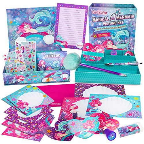 GirlZone Mermaid Stationery Set for Girls, 45 Piece Letter Writing kit, Mermaid Gifts for 10 Year Old Girls