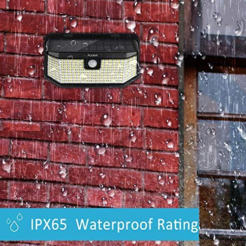 Aootek 120 Led Solar outdoor motion sensor lights upgraded Solar Panel to 15.3 in² and 3 modes(Security/ Permanent On all night/ Smart brightness control )with IP65 Waterproof with Wide Angle(2pack)