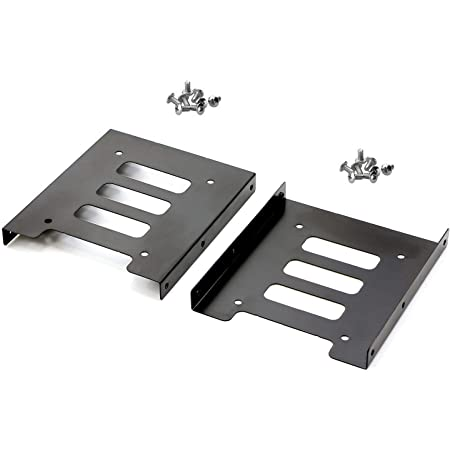 Pasow【2パック】 HDD/SSD用変換ブラケット 2.5→3.5インチ変換 サイズ変換ブラケット 2.5インチHDD/SSD変換マウンタ PC用 2.5 3.5インチ 2台取付け可能 金属製 ネジセット付き ブラック 2枚セット