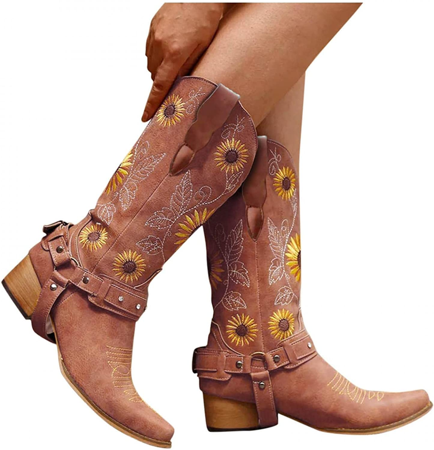 Cowgirl Inexpensive Boots for Women Sunflowers Squared Embroidery Low Max 79% OFF Toe He