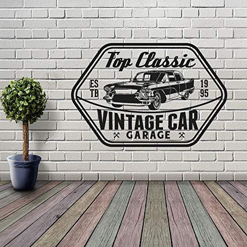 JXMN Vintage Car Garage Tatuajes de Pared calcomanías Taller de automóviles reparación de automóviles Arte de la Pared decoración 79x51 cm