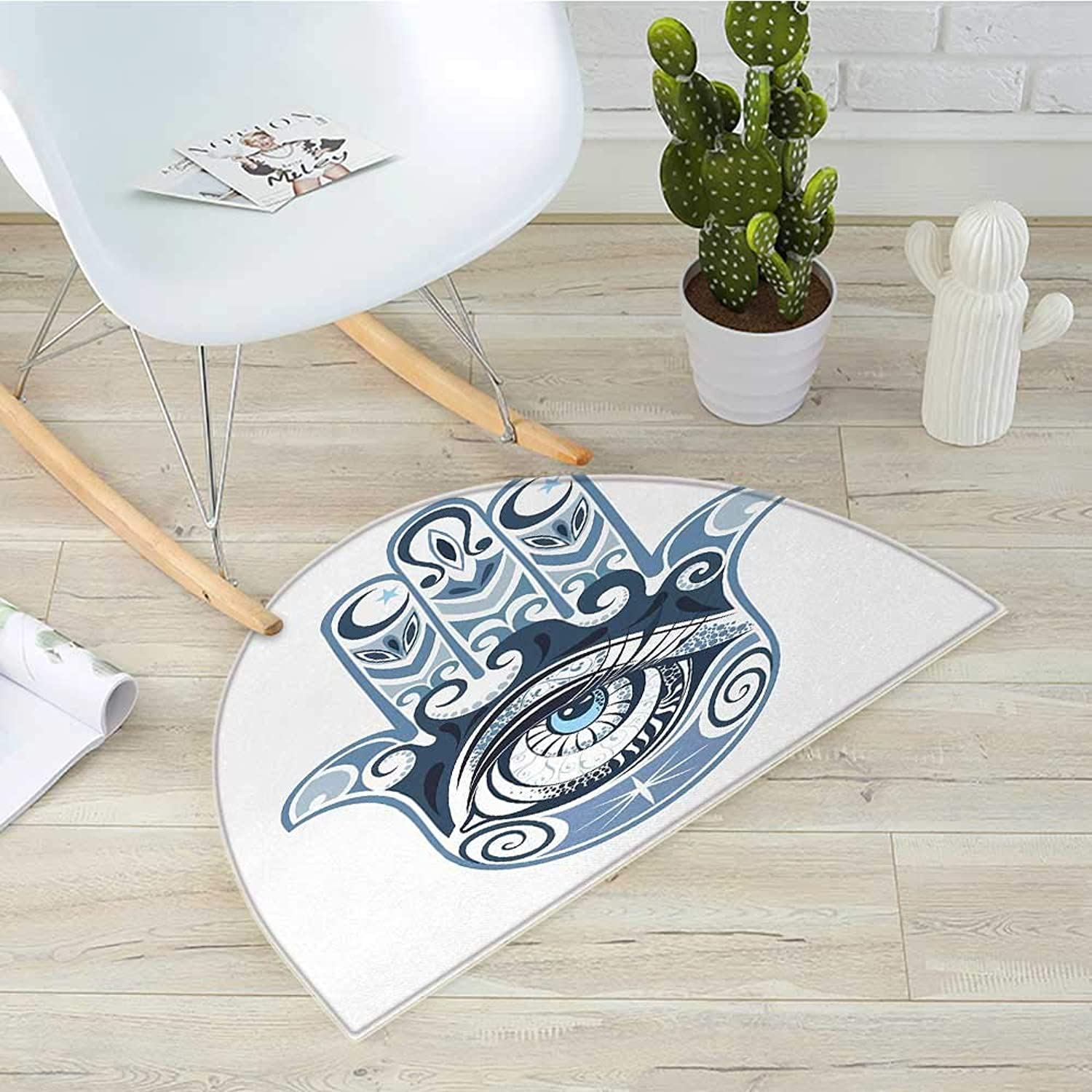Evil Eye Semicircle Doormat Cultural Good Luck Amulet Hand Drawn Artsy Magical Superstitious Sacred Halfmoon doormats H 19.7  xD 31.5  Dark bluee Pale bluee