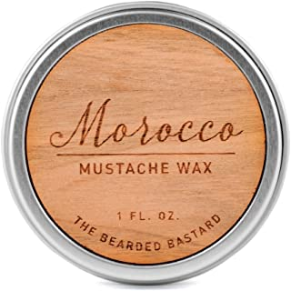 Morocco Mustache Wax | A Strong All Day Hold | Men's Mustache Grooming Wax, Hydrating with Beeswax, Lanolin and Jojoba Essential Oil, Men's Facial Hair Care Product | All Natural, 1 Ounce Tin
