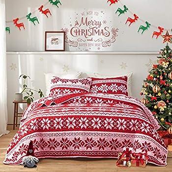 FlySheep Christmas Quilt Set Soft Microfiber Holiday Lightweight Bedspread Coverlet Bedding Set - Red White & Little Pink Snowflake Printed King