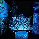 Izuku - Lámpara de noche 3D LED de anime Midoriya Izuku 3D My Hero Academia LED Night Light for boy Kids Bedroom Decor Birthday Gift Izuku Midoriya, lámpara de mesa de Navidad, 7 colores táctiles