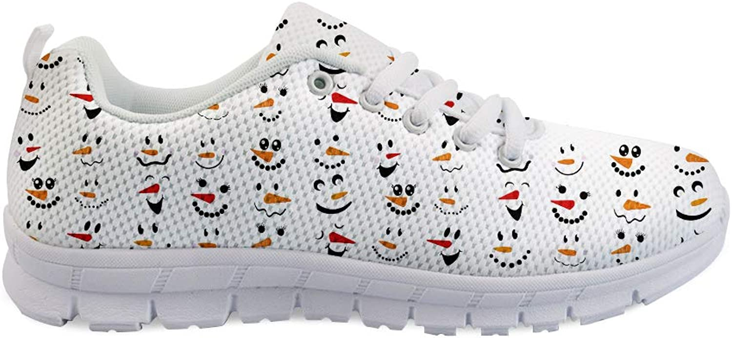 Owaheson Lace-up Sneaker Training shoes Mens Womens Winter Xmas Snowman's Happiness