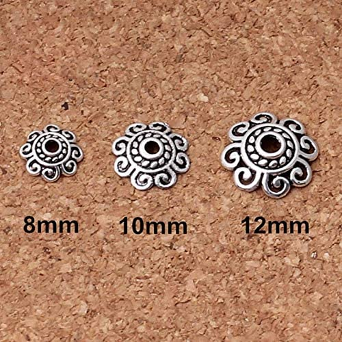 Laliva 100pcs Chicago Mall lot Tibetan Silver 8mm Receptacle Bead Caps security Flower