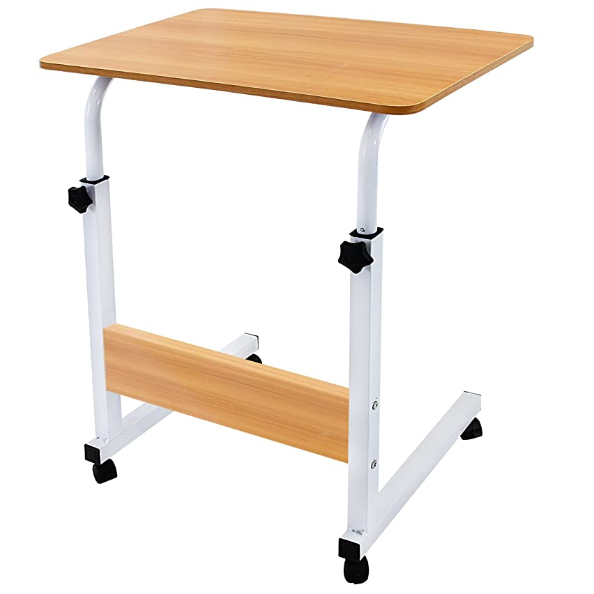 DL furniture - Adjustable Height Laptop Desktop Table Stand, Over Bed Side Table with Wheels | Natural Wood with Natural Wood Support