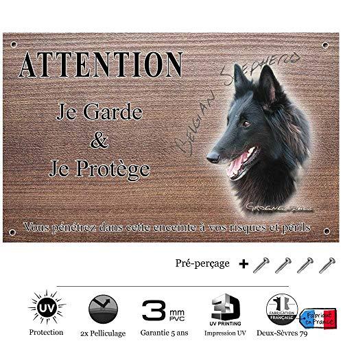 Pets-Easy.com Panneau Attention au Chien personnalisée Chien Groenendael - pré perforée et vis fournies. De 30 cm à 15 cm…