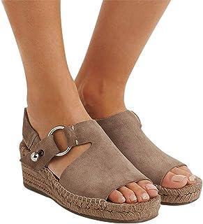 898c344f9ba4c8 Manooby Sandales Femmes Mode Espadrille Sandals Talon Compensé Plateforme  Été Casual Romaines Sandals Chaussures Voyage