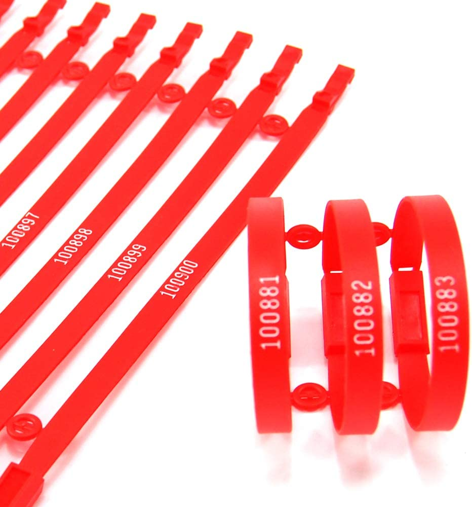 Tamper Evident; Each Seal is Numbered Sequentially; Use for Truck Trailer Container Red Pack of 100 Plastic Truck Seals