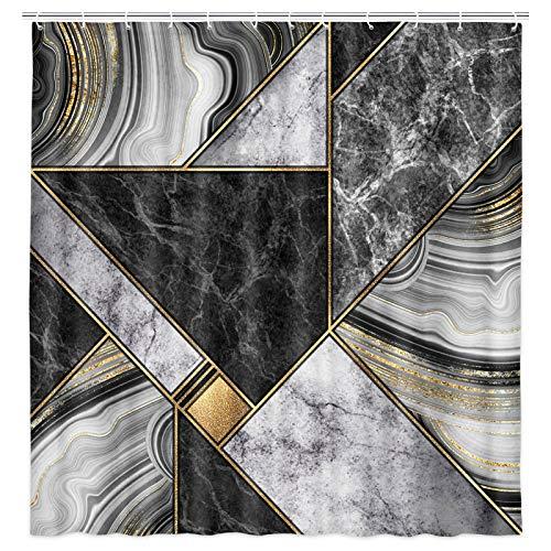 JAWO Marmor Duschvorhang, Marmor Granit Achat & Gold künstlerisch bemalter Stoff Duschvorhang mit Haken, abstrakter moderner Badezimmer-Vorhang 174 x 178 cm