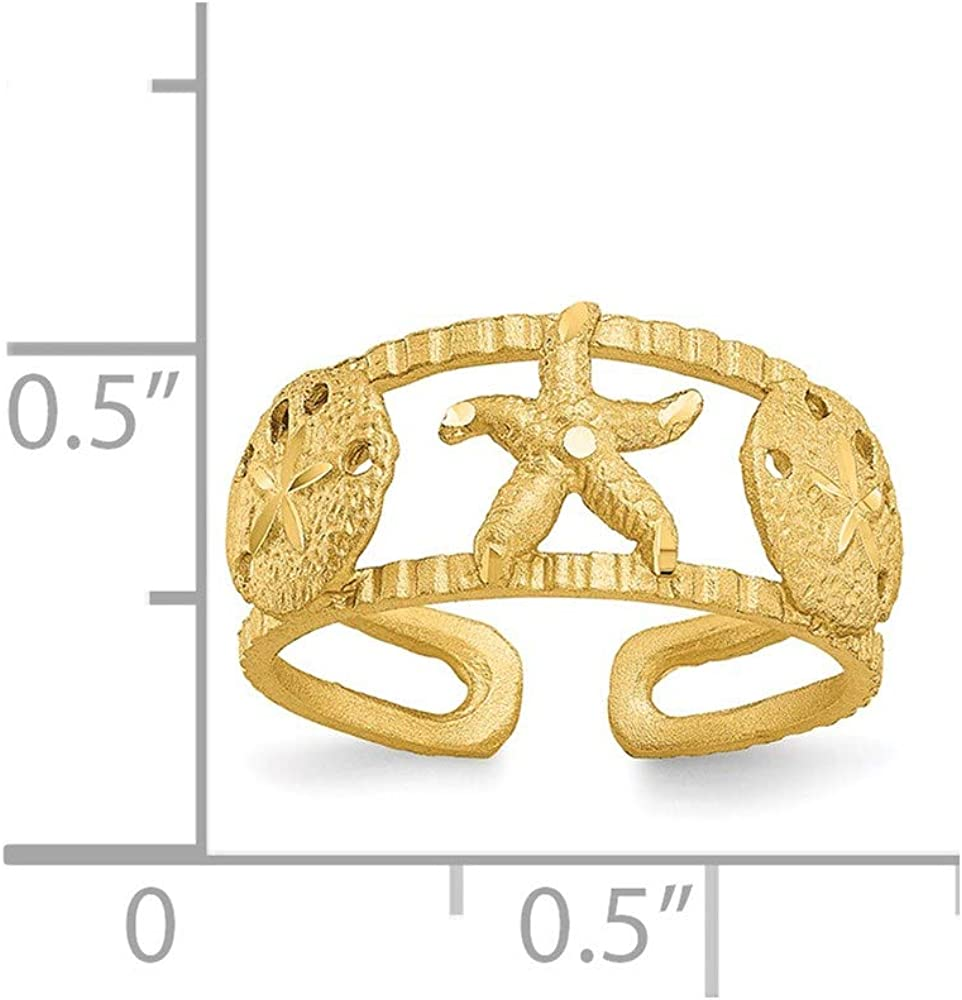 14k Yellow Gold Starfish Toe Ring