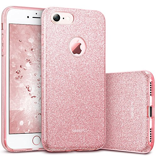 "ESR iPhone 7 Case,Glitter Sparkle Bling Case [Three Layer] for Girls Women [Shock-Absorption] for 4.7"" iPhone 7 (2016 Release)(Pink)"