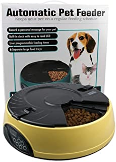 LHQ Dog and cat Automatic Feeder 6 Meal Timing quantitative Feeding Machine 8 Seconds Tape Display