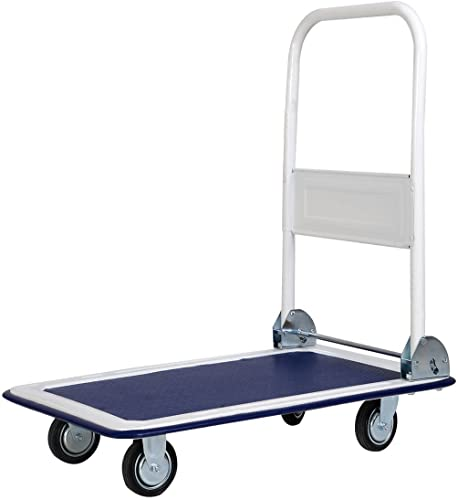 wholesale Giantex 10 Costway outlet sale Platform Cart outlet sale Dolly Folding Foldable Moving Warehouse Push Hand Truck, 330lbs Weight Capacity, Blue online